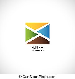 abstract colorful squares made of triangles - concept vector gra