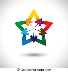 Abstract colorful star & arrow icon or symbol- vector graphic