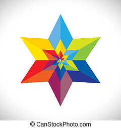 abstract colorful star shape with six sides- vector graphic. This illustration consists of many stars united as one & made of paper(origami) in colors like red, orange, yellow, pink, blue, green