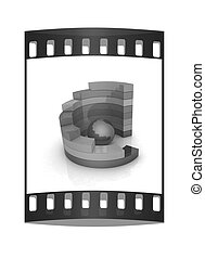 Abstract colorful structure with blue bal in the center. The film strip