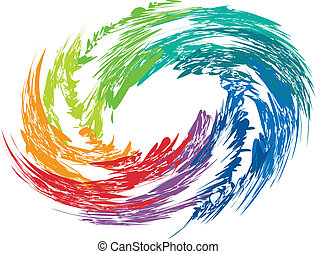 Abstract colorful swirl image. Concept of hurricane, twister, tornado.