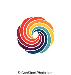 Abstract Colorful Swirl Image Logo. Eight colors