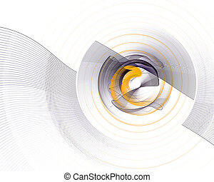 Abstract colorful technology or scientific background, computer-generated image. Fractal backdrop with tech style round and rays.