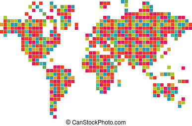 Technology bits world map shape. Vector file layered for easy manipulation and custom coloring.