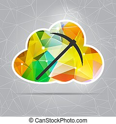 Abstract Colorful Triangle Crypto Currency Cloud Mining ...