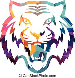 Abstract colorful triangle geometrical tiger logo