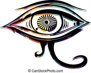 Abstract colorful triangle geometrical eye