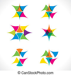 abstract colorful triangle icons