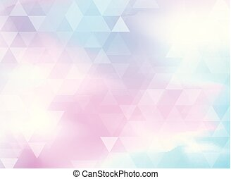 Abstract colorful triangles pattern on holographic foil background.