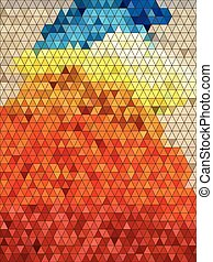 Abstract colorful triangles with black line pattern
