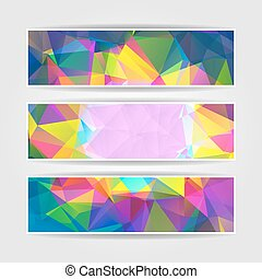 Abstract Colorful Triangular Polygonal vector banners set