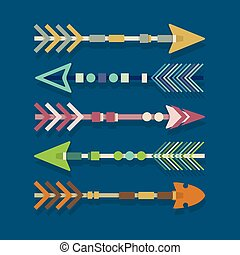 Abstract colorful tribal arrows set