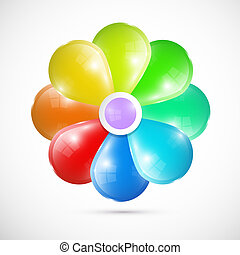Abstract Colorful Vector 3d Flower Isolated on White Background
