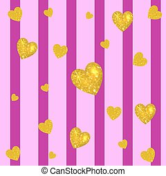 Abstract colorful VECTOR background. Golden hearts on striped magenta and pink backdrop. Vertical stripes.