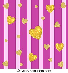 Abstract colorful VECTOR background. Golden hearts on striped magenta and pink background. Vertical stripes.