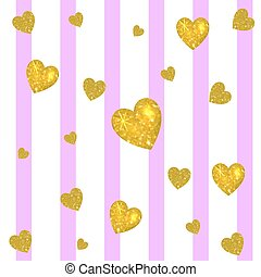 Abstract colorful VECTOR background. Golden hearts on striped white and pink background. Festive backdrop.