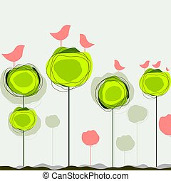 Abstract colorful vector background with birds and tree