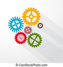 Abstract Colorful Vector Cogs - Gears