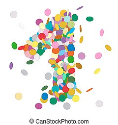 Abstract Colorful Vector Confetti Number One - 1