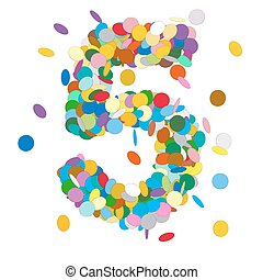 Abstract Colorful Vector Confetti Number Five - 5