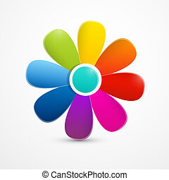 Abstract Colorful Vector Flower Illustration Isolated on White Background