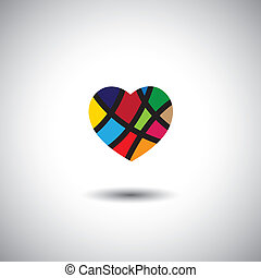 abstract colorful vector heart icon