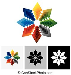 Abstract colorful vector icon logo of star creative design symbol