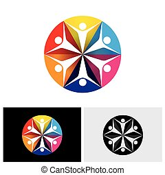 abstract colorful vector logo icons of children or kids happy & excited