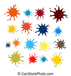Abstract Colorful Vector Splashes Set