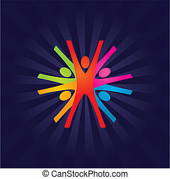 Teamwork - Abstract Colorful Vector Teamwork Background