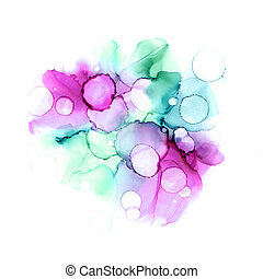 Abstract colorful watercolor or alcohol ink background in purple and turquoise colors.