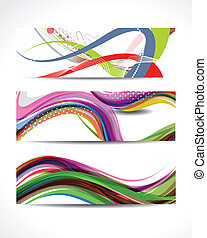 Abstract Colorful Wave Banner Set.