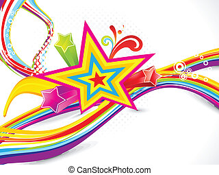 abstract colorful wave with star