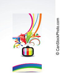 abstract colorful wave with televis