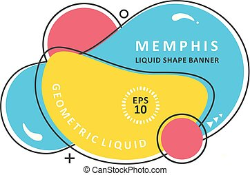 Abstract colorful waves. Modern vector template. Memphis Liquid shape. Mosaic amoeba design