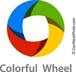 abstract colorful wheel logo icon design