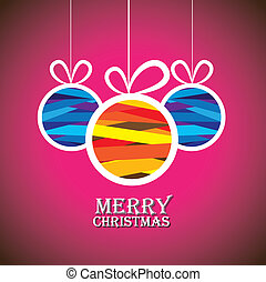 Abstract colorful xmas bauble balls on pink background-...