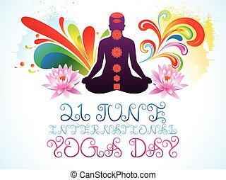 abstract colorful yoga day explode