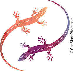 Abstract colorfull decorative lizards