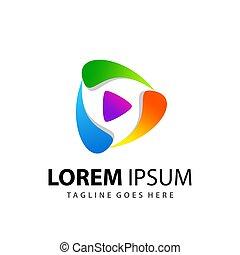Abstract Colorfull Play Media Logo Design Template Premium Vector