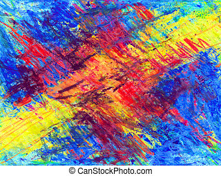 Abstract colors - Dynamic non-figurative crayon painting