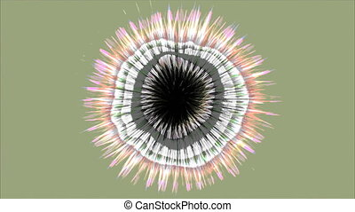 A computer generated animation with a flickering circular pattern and radiating lines