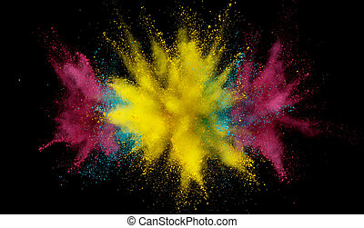 Abstract coloured powder explosion on black