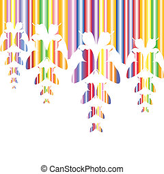 Abstract colourful background with butterflies