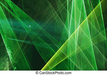 Abstract Colourful green laser show light