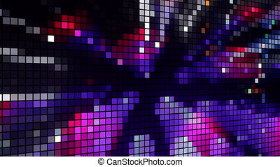 abstract colourful pattern of LED light squares. Could be a video wall or projection