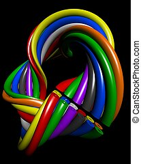 Abstract colourful wire electronic connection concept