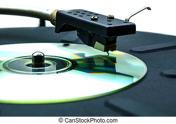 Abstract comic turntable with a CD instead of a vinyl disc