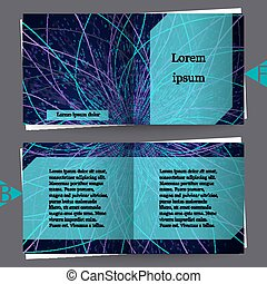 Abstract communication network background. Fractal element with lines and dots array. Big data connection complex concept. Brochure template. Eps10 Vector illustration