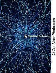 Abstract communication network background. Fractal element with lines and dots array. Big data connection complex concept. Eps10 Vector illustration